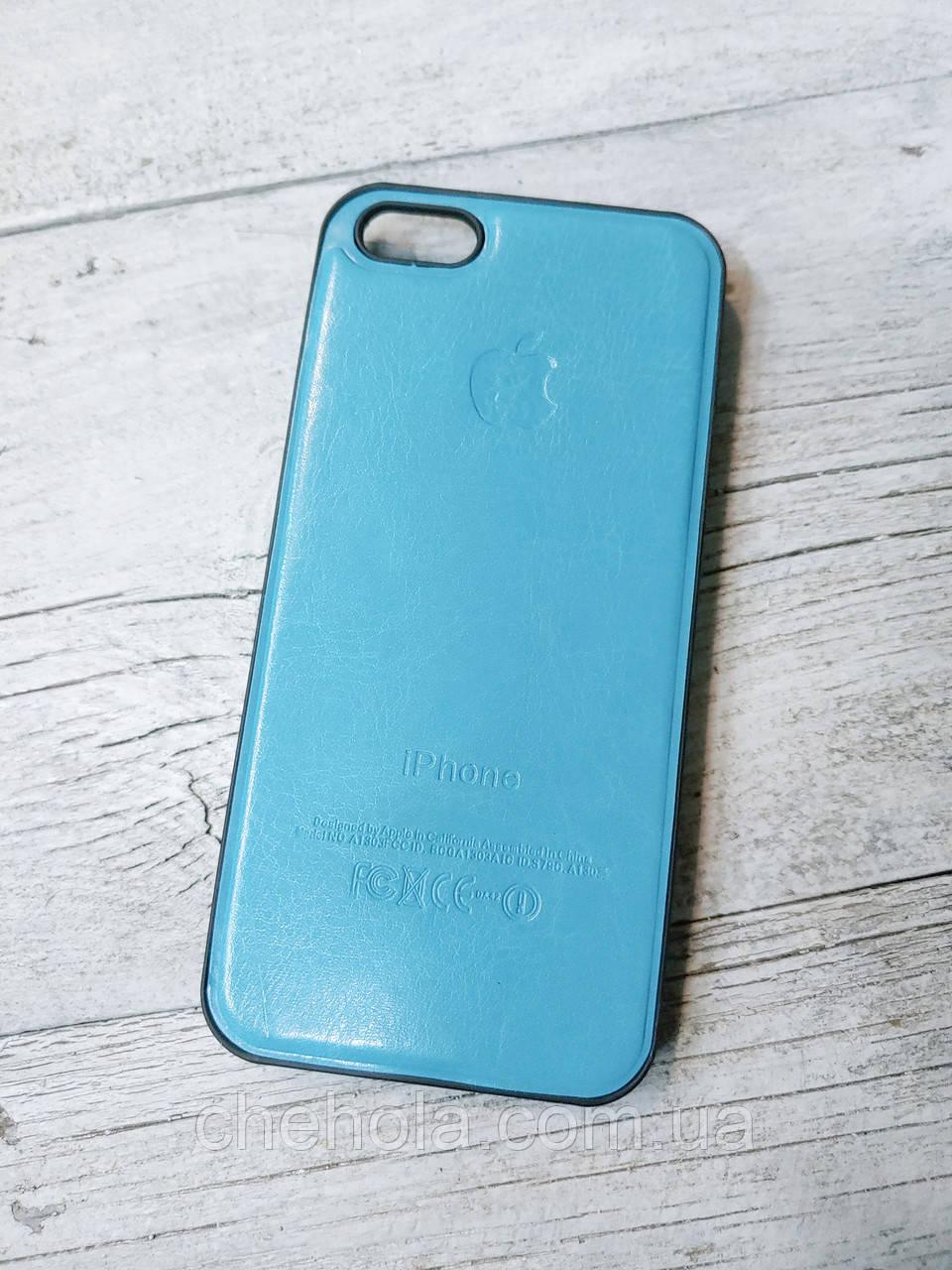 Протиударний шкіряний чохол для Iphone 5 5S SE Senator Блакитний