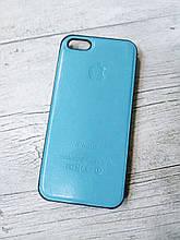 Противоударный кожанный чехол для Iphone 5 5S SE Senator Голубой