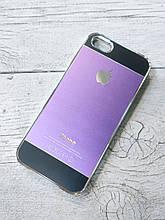 Противоударный Чехол для Iphone 5 5S SE Алюминиевый Metal Chrome  Фиолетовый/черный