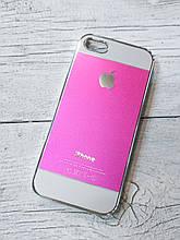 Противоударный Чехол для Iphone 5 5S SE Алюминиевый Metal Chrome  Розовый/белый