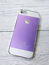 Противоударный Чехол для Iphone 5 5S SE Алюминиевый Metal Chrome  Фиолетовый/белый