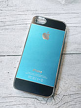 Противоударный Чехол для Iphone 5 5S SE Алюминиевый Metal Chrome  Голубой/черный