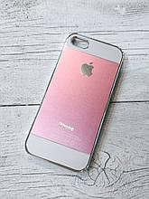 Противоударный Чехол для Iphone 5 5S SE Алюминиевый Metal Chrome  Розово/белый