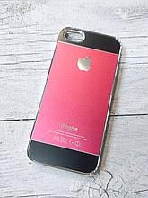 Противоударный Чехол для Iphone 5 5S SE Алюминиевый Metal Chrome  Красный/черный