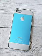 Противоударный Чехол для Iphone 5 5S SE Алюминиевый Metal Chrome  Голубой/белый