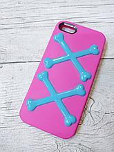 Силиконовый противоударный Чехол для Iphone 5 5S SE SwitchEesy Bones Розовый