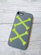 Силиконовый противоударный Чехол для Iphone 5 5S SE SwitchEesy Bones Серый
