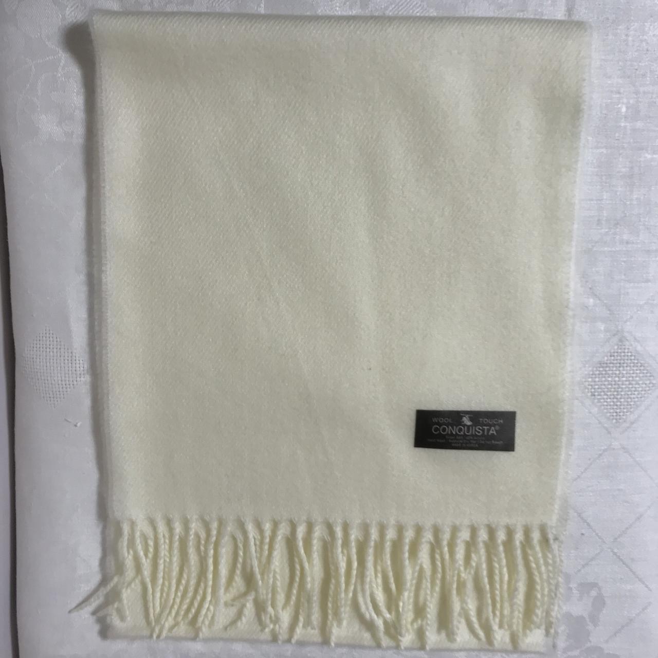 Кашеміровий біло-молочний однотонний шарф