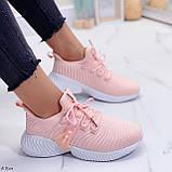 Женские кроссовки розовые- персиковые на шнуровке текстиль, фото 4