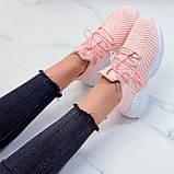 Женские кроссовки розовые- персиковые на шнуровке текстиль, фото 6