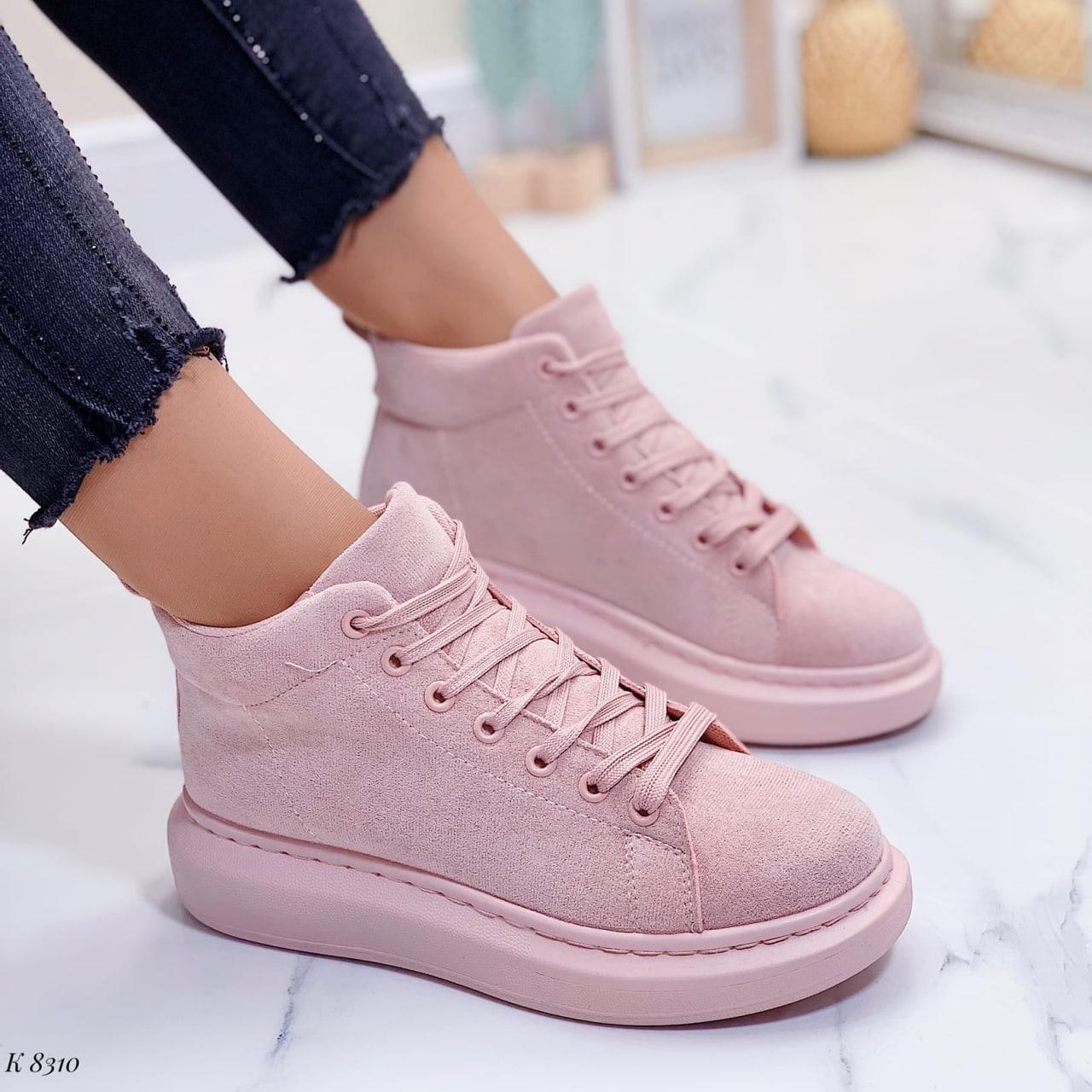 Высокие кроссовки- хайтопы женские розовые эко замш