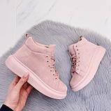 Высокие кроссовки- хайтопы женские розовые эко замш, фото 2