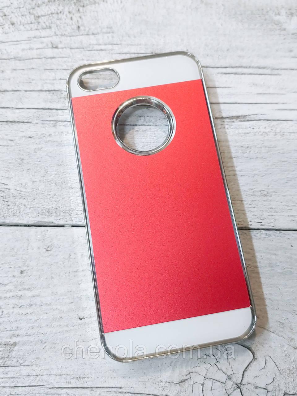 Чехол алюминиевый Jelly Iphone 5 5S SE Хромированный Красный