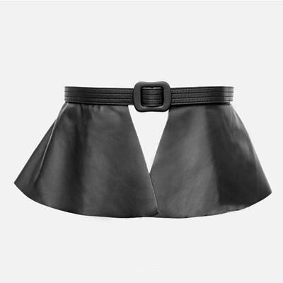 Ремень-баска женский широкий эко-кожаный черный массивный ремень-юбка с оборками на пояс на талию