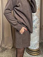 Женский ангоровый костюм с шортами больших размеров коричневый