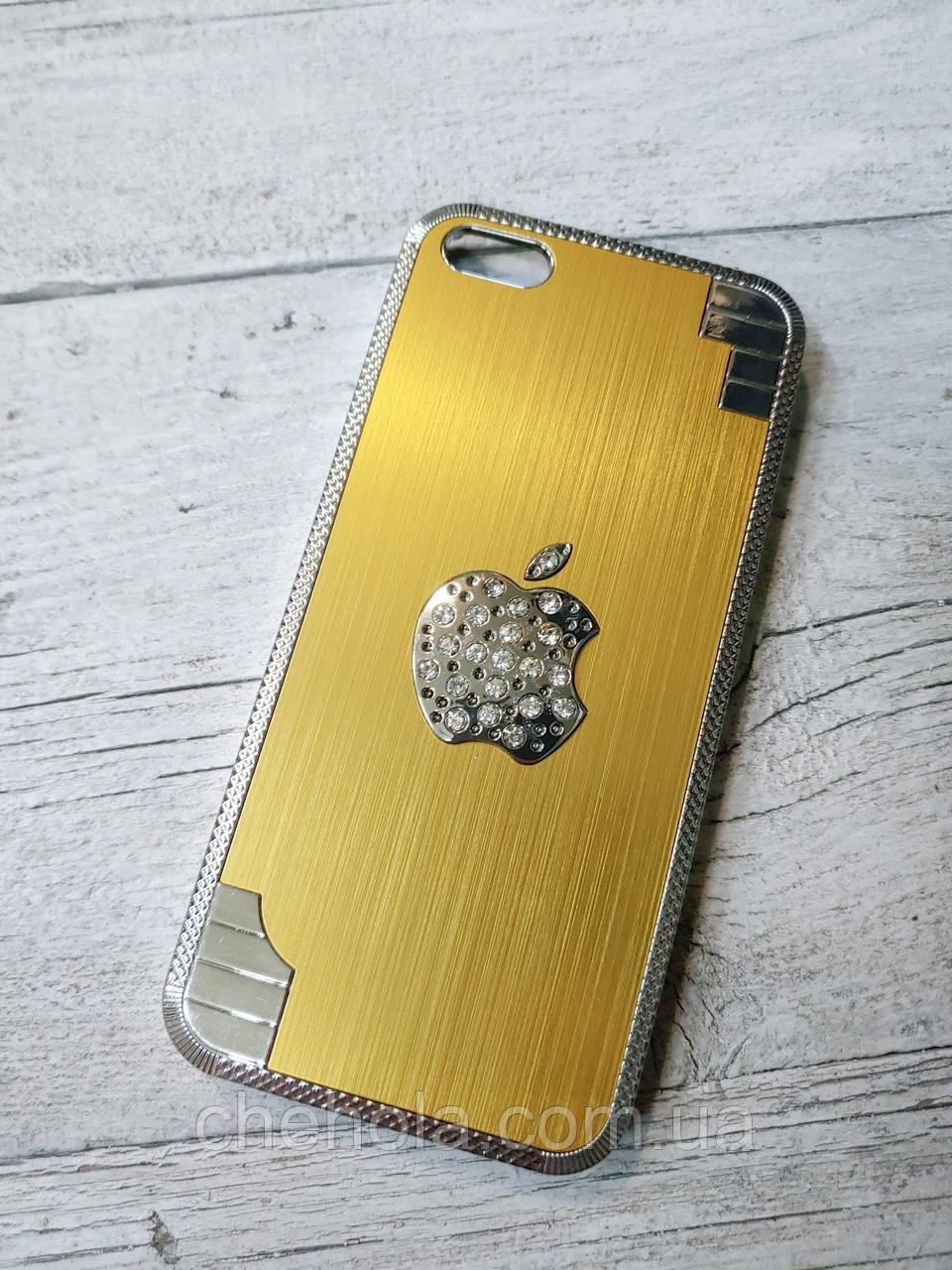 Противоударный чехол для iPhone 5 5S SE со стразами металлический  Оранжевый