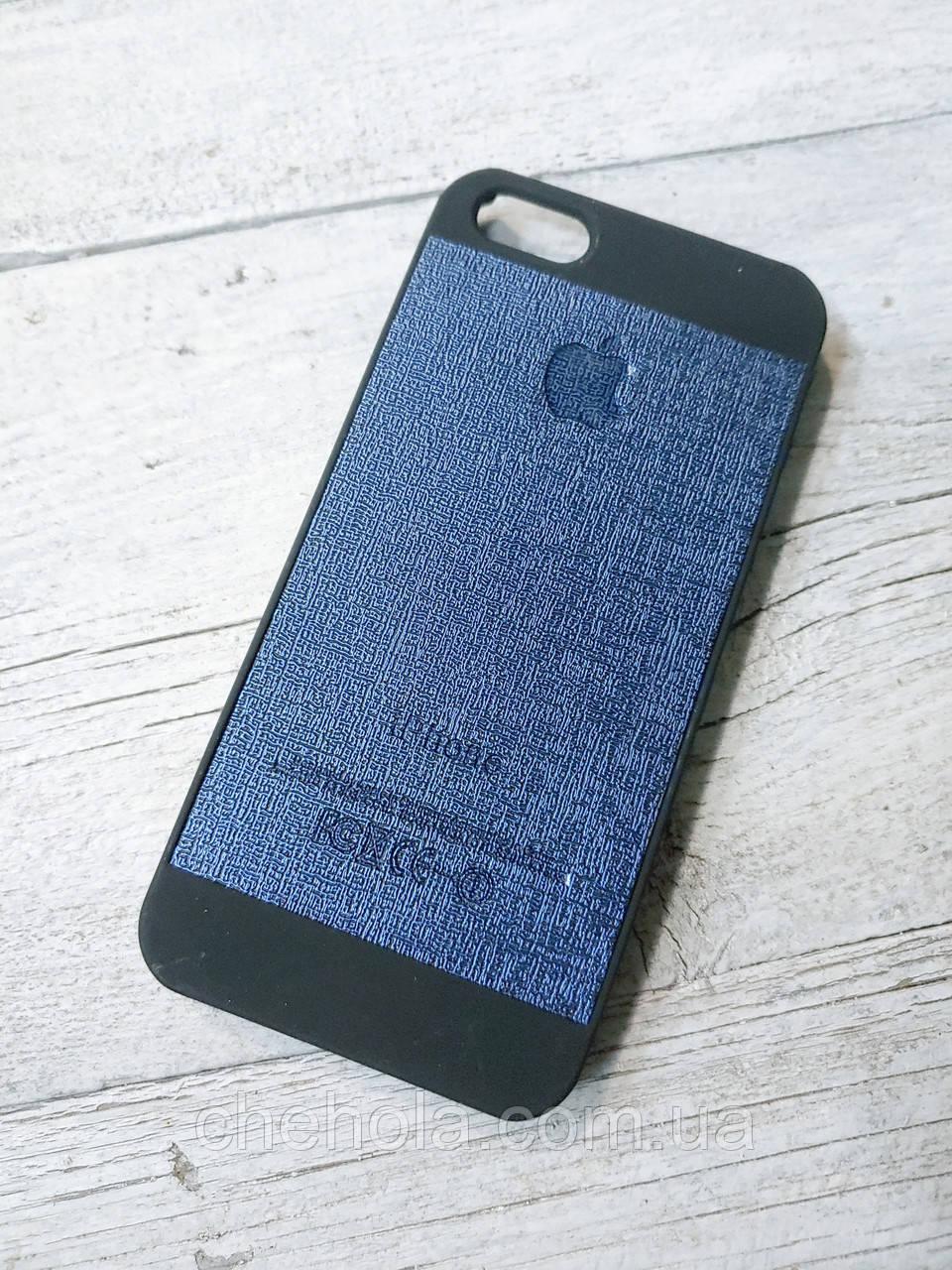 Кожанный Чехол для Iphone 5 5S SE Senator Duo Синий