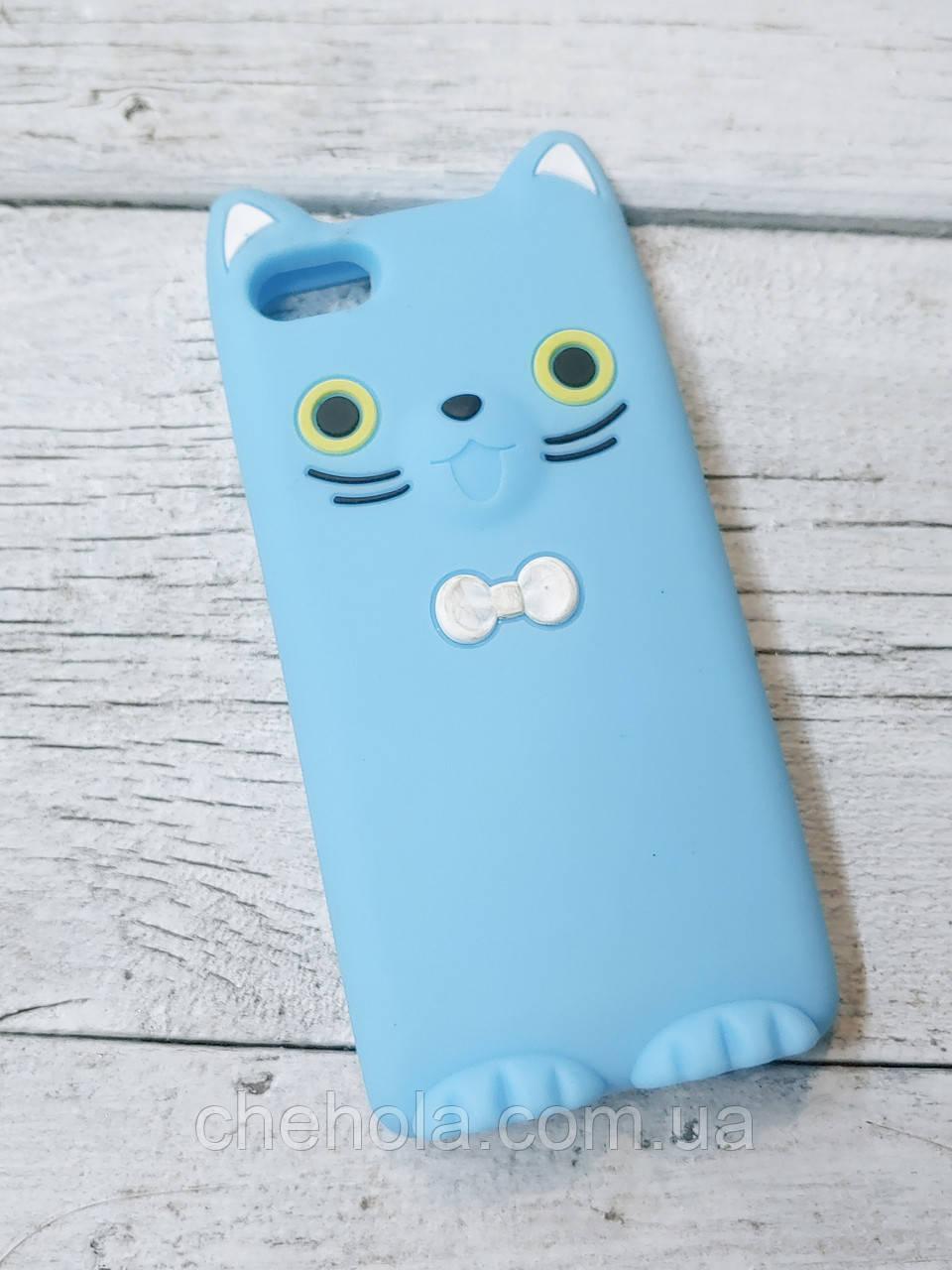 Захисний силіконовий Чохол Кошеня для iPhone 5 5S SE Koko Cat Блакитний