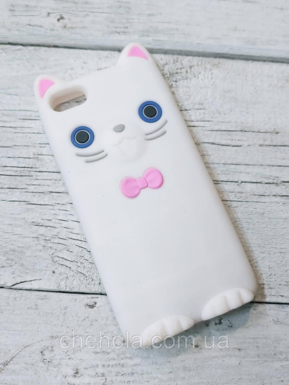 Противоударный силиконовый Чехол Котенок для iPhone 5 5S SE Koko Cat  Белый