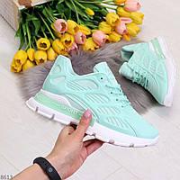 Яркие ультра модные мятные силиконовые дышащие женские кроссовки