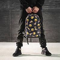 Городской рюкзак молодежный с принтом еды черный, фото 1