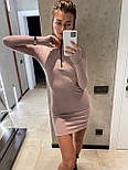 Платье - гольф повседневное с молнией на груди с митенками из трикотажа резинка (р. 42, 44) 83032034, фото 3