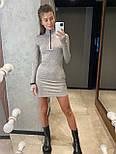 Платье - гольф повседневное с молнией на груди с митенками из трикотажа резинка (р. 42, 44) 83032034, фото 6