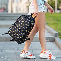 Женский городской рюкзак с принтом бананов черный, фото 1