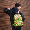 Женский городской рюкзак с ярким принтом фруктов салатовый