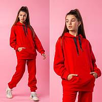 Дитячий спортивний костюм для дівчинки, з капюшоном на флісі, теплий Міка   на ріст 140-164р.