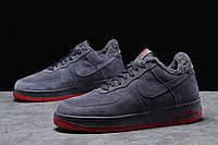 Зимние мужские кроссовки 31732, Nike Air AF1 (мех), темно-серые, [ 42 43 ] р. 42-26,5см.