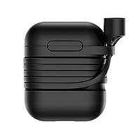 Силиконовый чехол с шнурком Baseus Silicone Case для Apple AirPods Black 0AL2897, КОД: 1131098