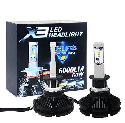 Светодиодные LED лампы X3 H1 для автомобиля / автолампы HEADLIGHT 6000K/6000Lm / автомобильные лед лампы, фото 2