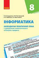 Календарно-тематический план Інформатика 8 клас з урахуванням компетентнісного потенціалу предмет, КОД: