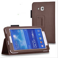 Кожаный чехол для планшета Samsung Galaxy Tab 3 Lite SM-T110/T111/T113N/T116N TTX Коричневый, фото 1