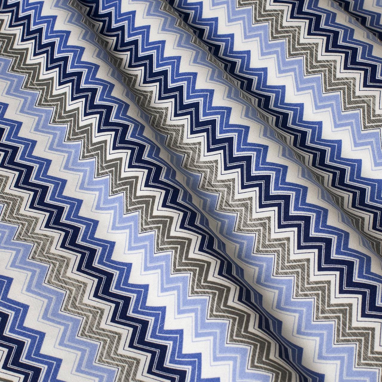 Декоративна тканина зигзаги міссоні сині білі Туреччина 88007v7