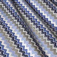 Декоративна тканина зигзаги міссоні сині білі Туреччина 88007v7, фото 1