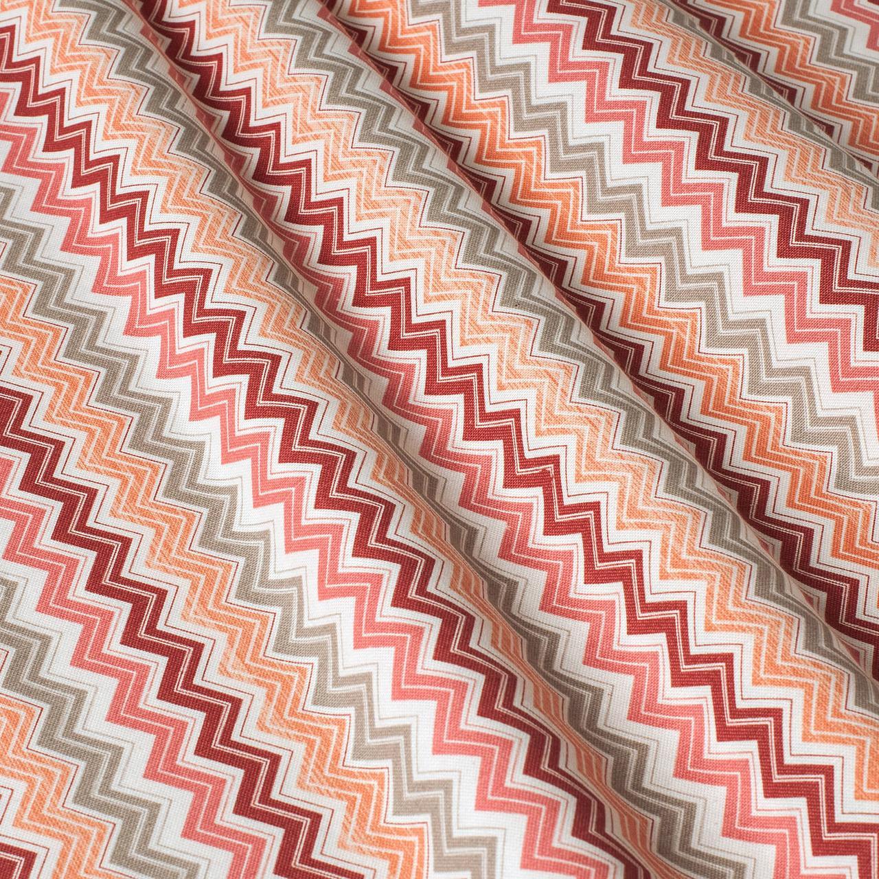Декоративна тканина зигзаги міссоні рожеві білі Туреччина 88005v3