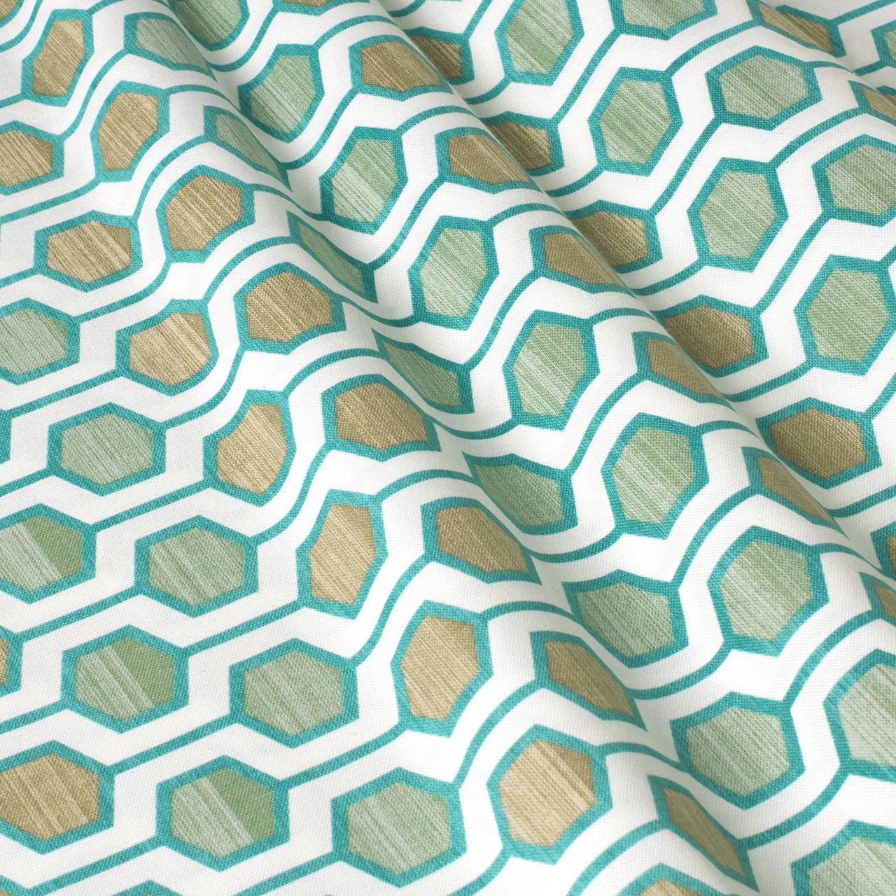 Декоративная ткань геометрия шестиугольники зеленые на белом фоне Турция 87997v6
