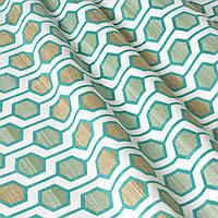 Декоративная ткань геометрия шестиугольники зеленые на белом фоне Турция 87997v6, фото 1
