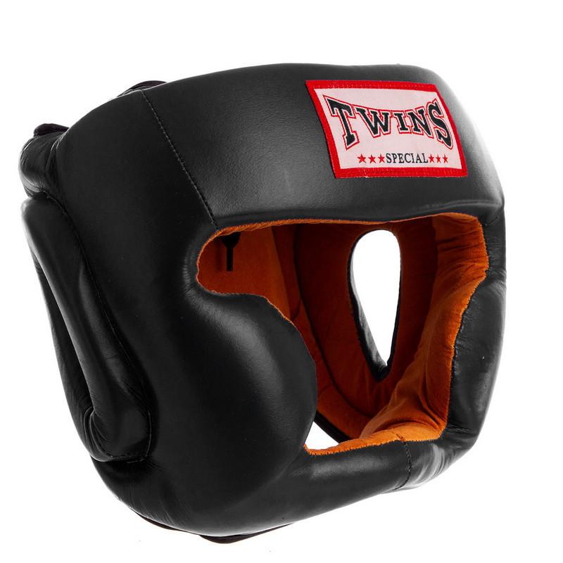 Кожаный боксерский шлем закрытый черный TWINS VL-6630