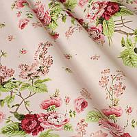 Декоративная ткань цветы на розовом фоне Турция 87980v16, фото 1