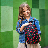 Рюкзак детский для прогулок с ярким принтом вишни черный
