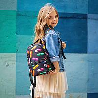 Рюкзак детский для прогулок с ярким принтом черный