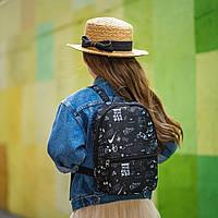 Рюкзак детский для прогулок с черно-белым принтом, фото 1