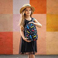 Рюкзак детский для прогулок с принтом скейты черный, фото 1