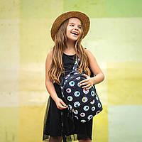 Рюкзак детский для прогулок с принтом глаза черный