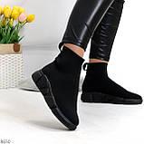 Ультра модные и мега удобные черные текстильные кроссовки кеды носки, фото 3