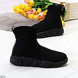 Ультра модные и мега удобные черные текстильные кроссовки кеды носки, фото 6