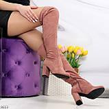 Очаровательные женственные замшевые женские ботфорты в модном оттенке темная пудра, фото 5